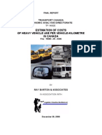 Estimation of Costs of Heavy Vehicle Use Per Vehicle-kilometre in Canada