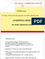 English for Oral Communication - Oral Farewell Speech