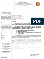 PSB Recommendation Letter