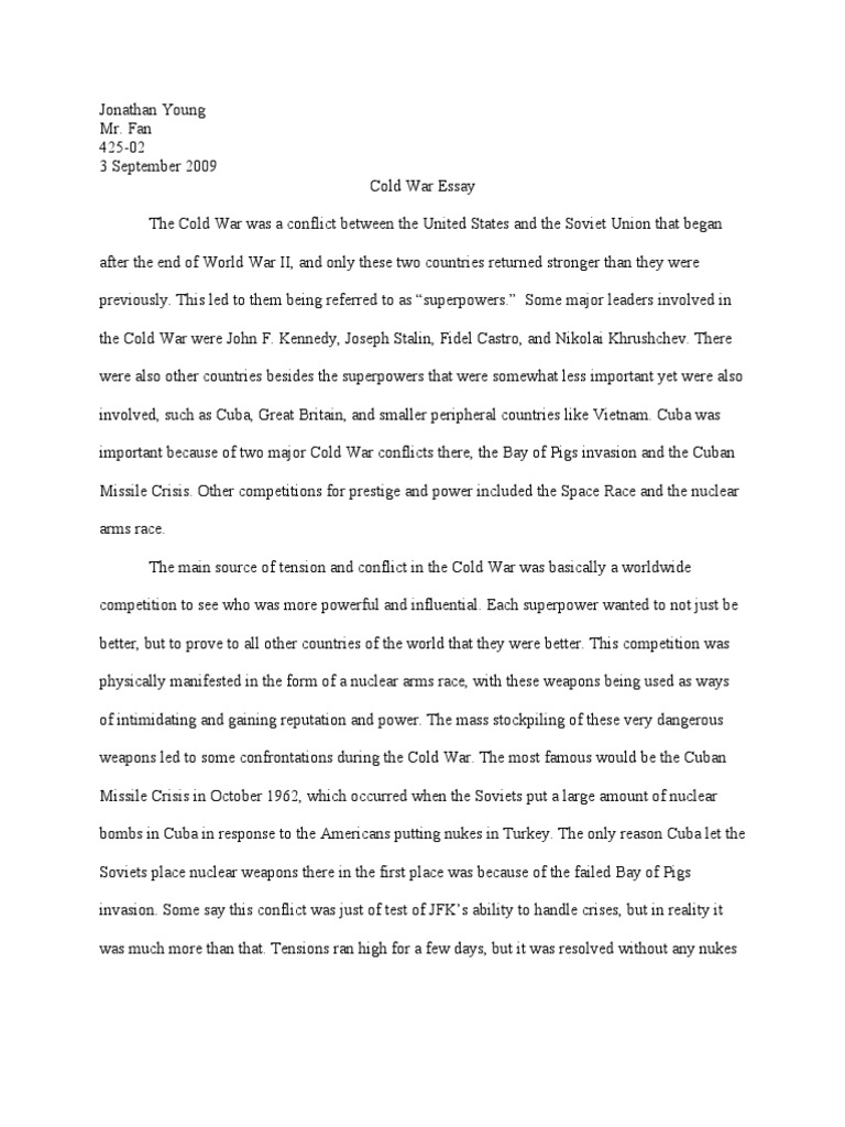 how did the cold war end essay