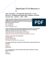 DCompNtwk Final Exam CCNA Discovery 4 4