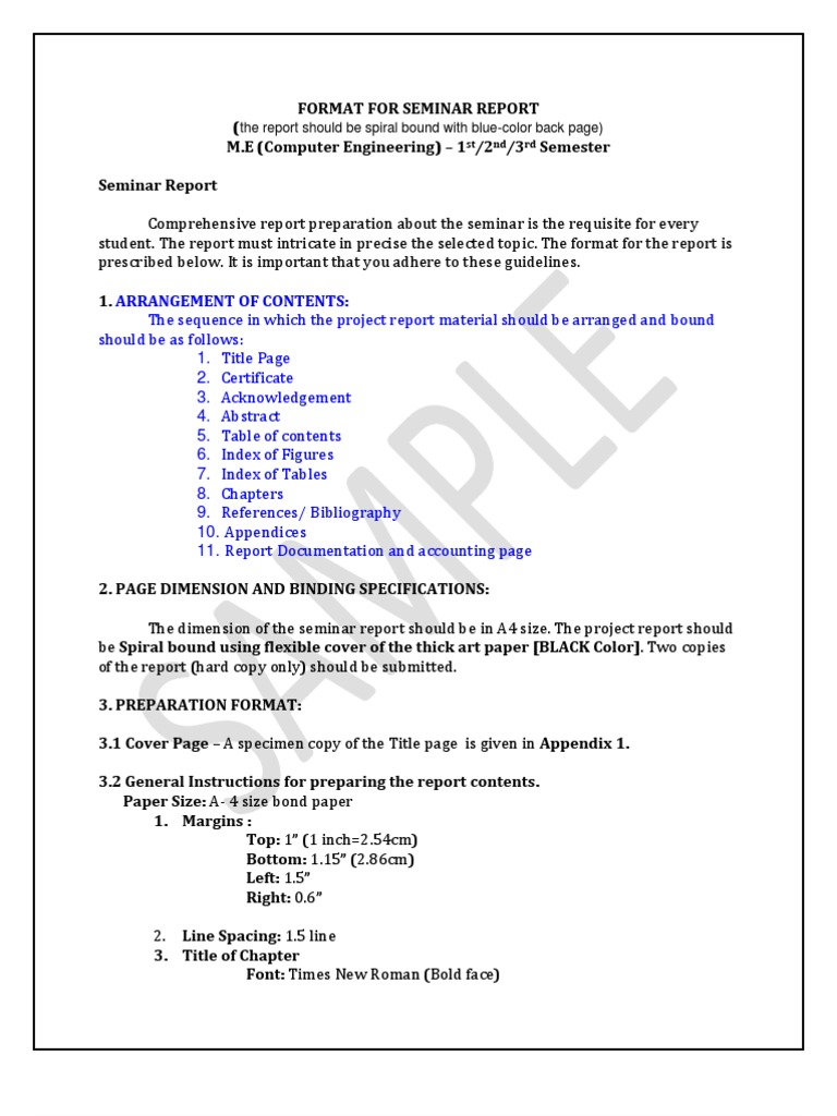 Format for seminar report 2 times new roman typefaces yelopaper Images
