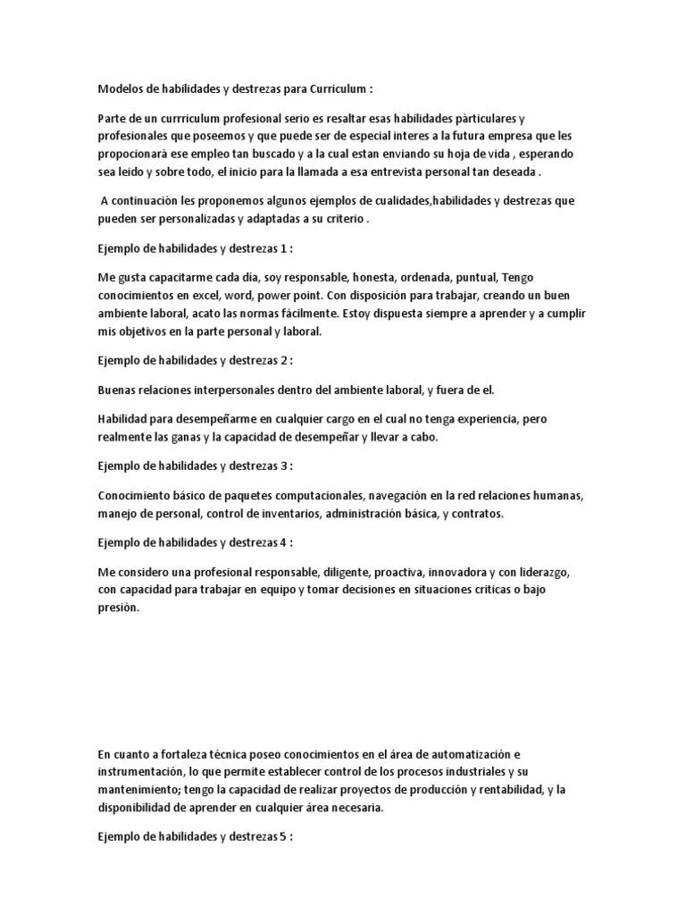 Increíble Habilidades Básicas Ejemplos De Currículum Imagen ...