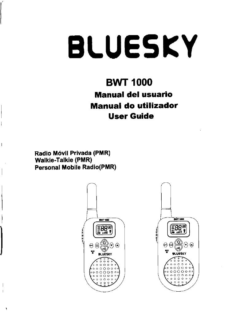 Manual del Usuario BLUESKY BWT 1000 Radio Movil Privada (RMP)