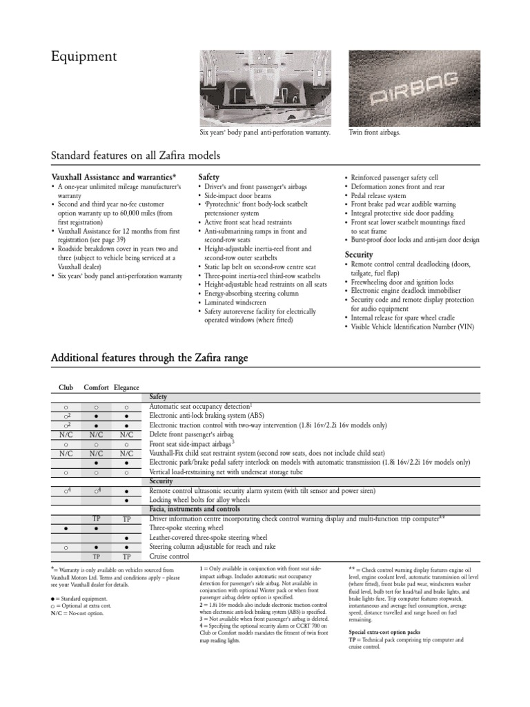 Zafira Spec Brochure Fuel Injection Economy In Automobiles Rear Door Wiring Harness