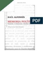 RAUL ALFONSIN - MEMORIA POLÍTICA