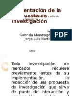 Presentación de la propuesta de investigación