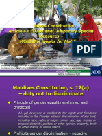 Maldives Constitution Article 4 CEDAW and Temporary Special Measures – What this means for Maldives