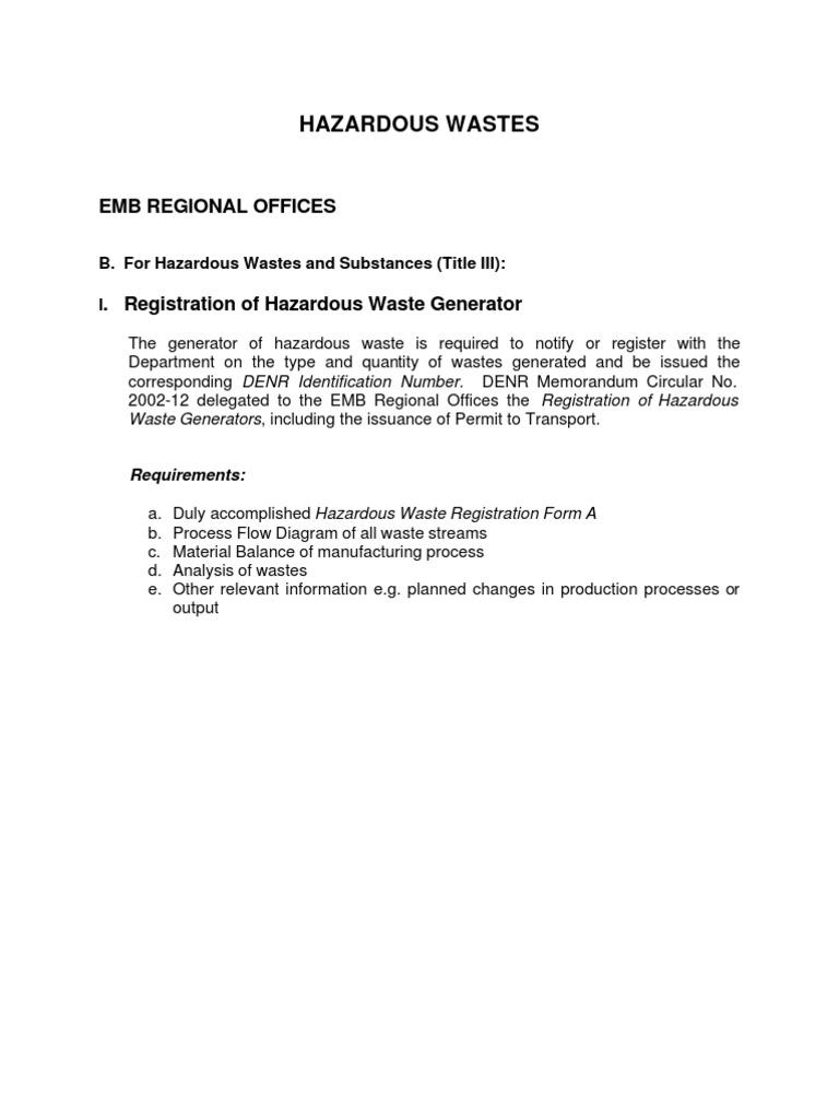 Permitting Procedures Hazardous Recycling Waste
