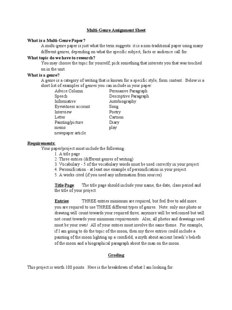 Multi Genre Assignment Genre Paragraph