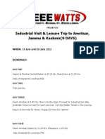 Itinerary for Industrial Visit (JUNE '12) by IEEE WATTS