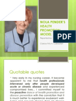 NOLA PENDER'S HEALTH PROMOTION MODEL
