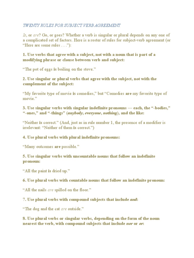 Twenty Rules For Subject Verb Agreement Grammatical Number Plural