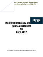 Monthly Chronology of Burma's Political Prisoners for April 2012