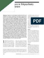 Recent Advances in Telepsychiatry
