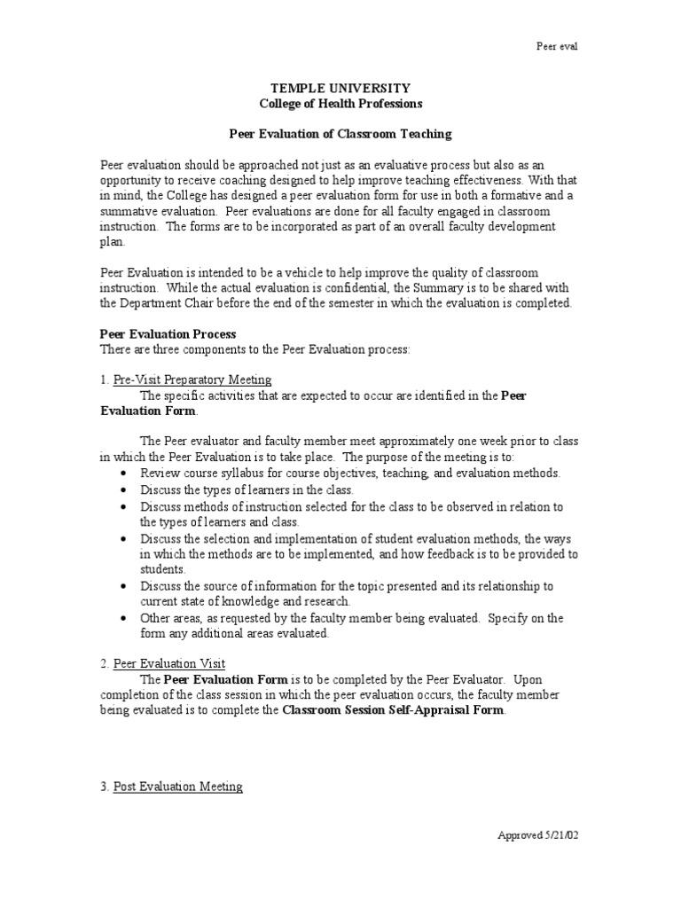 Peer Evaluation Form Teaching Method Evaluation