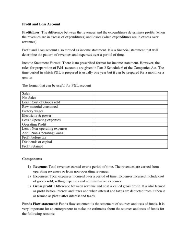 profit and loss account income statement revenue