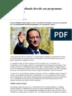 François Hollande dévoile son programme présidentiel