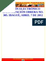 Boletin Emancipación Obrera Nro. 305, Abril 7 de  2012