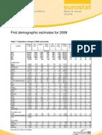 Eurostati esialge 2008 a demograafiline statistika