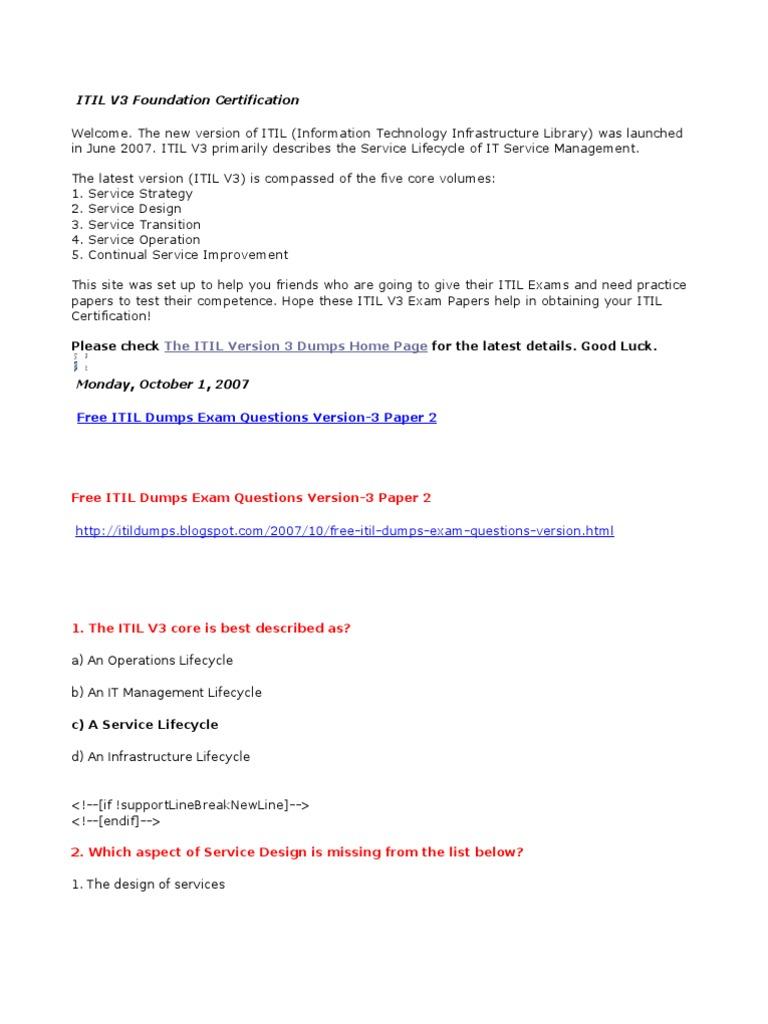 Free Itil Dumps Exam Questions Version 3 Paper 2 Itil