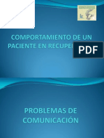 COMPORTAMIENTO DEL PACIENTE EN RECUPERACIÓN