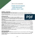 Police Daily Crime Bulletin 20120507