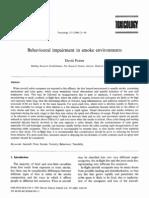Behavioural Impairment in Smoke Environments
