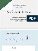 Apresentação de dados - probabilidade e estatística