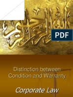 Distinction Between Condition and Warranty