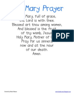 Hail Mary Poster and Student Prayer