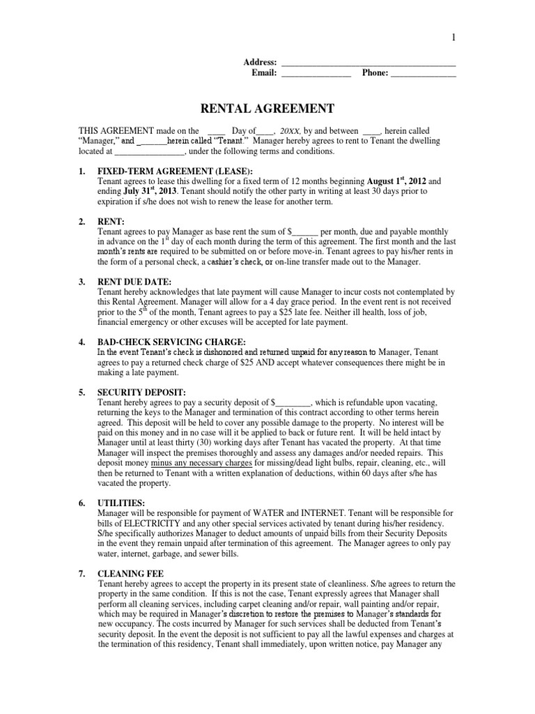 Rental Agreement Template | Lease | Leasehold Estate