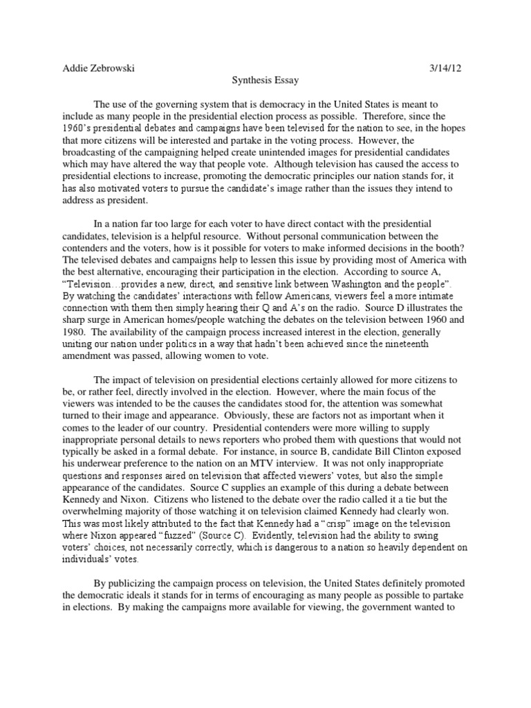 ap lit synthesis essay role of tv on pres elections united ap lit synthesis essay role of tv on pres elections united states presidential election elections