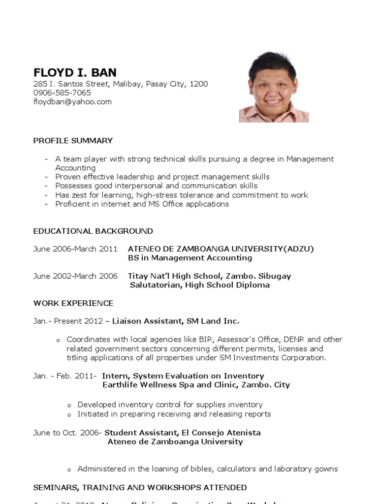 Sample Resume For Fresh Graduates Accounting Science