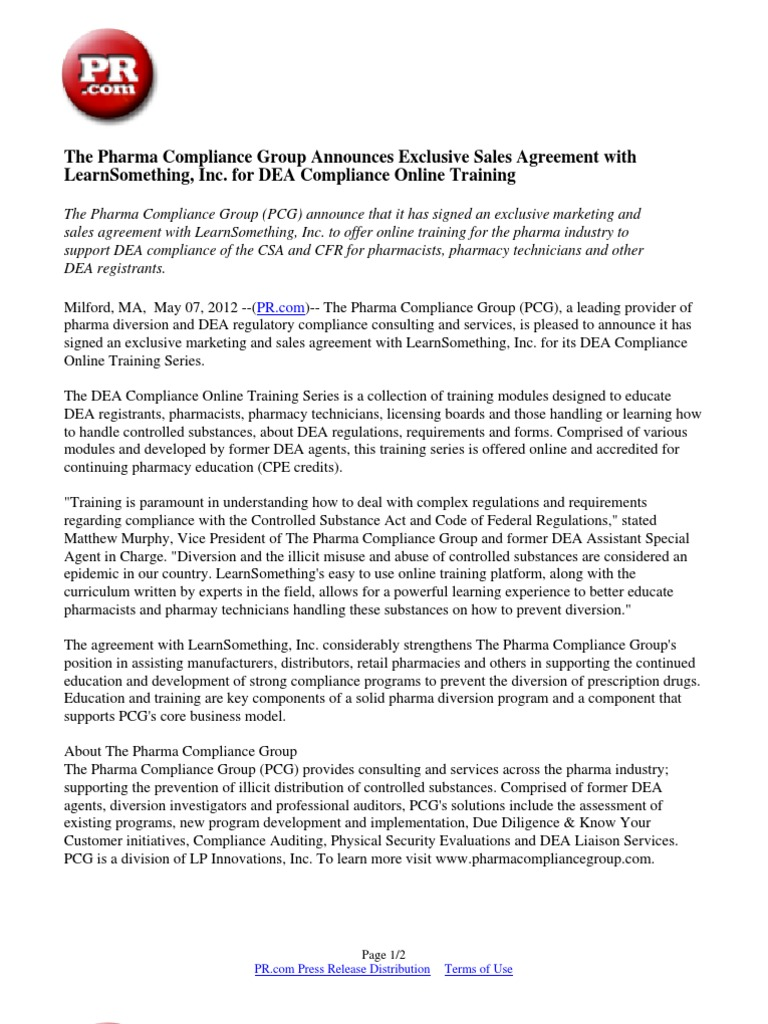 The Pharma Compliance Group Announces Exclusive Sales Agreement With