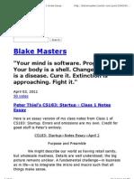 Peter Thiel's CS183_ Startup - Class 1 Notes Essay