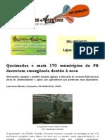 Queimadas e mais 170 municípios da PB decretam emergência devido à seca