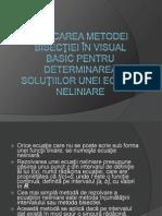 Aplicarea metodei bisecţiei în Visual Basic pentru determinarea soluţiilor unei ecuaţii neliniare