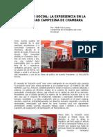 Artículo del Congresista Wilder Ruiz - Inclusión Social. La experiencia en la comunidad campesina de Chambara