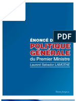 Enonce de Politique Generale de Laurent S. LAMOTHE
