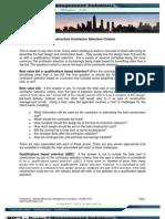 Construction Contractor Selection Criteria