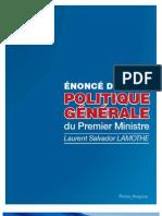 Enonce de Politique Generale de Laurent S. LAMOTHE