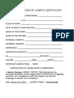 Sworn translation of a spanish birth certificate translation of a birth certificate yadclub Gallery