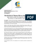 Resolución de Thomas Rivera Schatz solicita Que Justicia acelere investigación sobre UBS(Se incluye a ex funcionarios y ejecutivos)