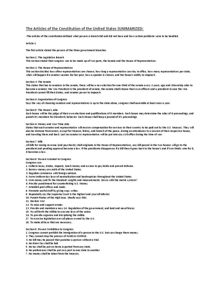 theconstitution-articlessummarized | united states constitution