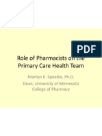WG-Workforce - Speedie - Role of Pharmacists on the Primary Care Health 2012-02-08