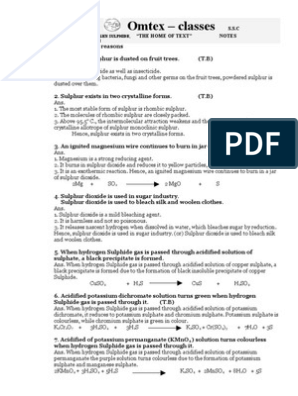 Sulphur , Hydorgen Sulphide, Sulphur Dioxide   Sulfur   Bleach
