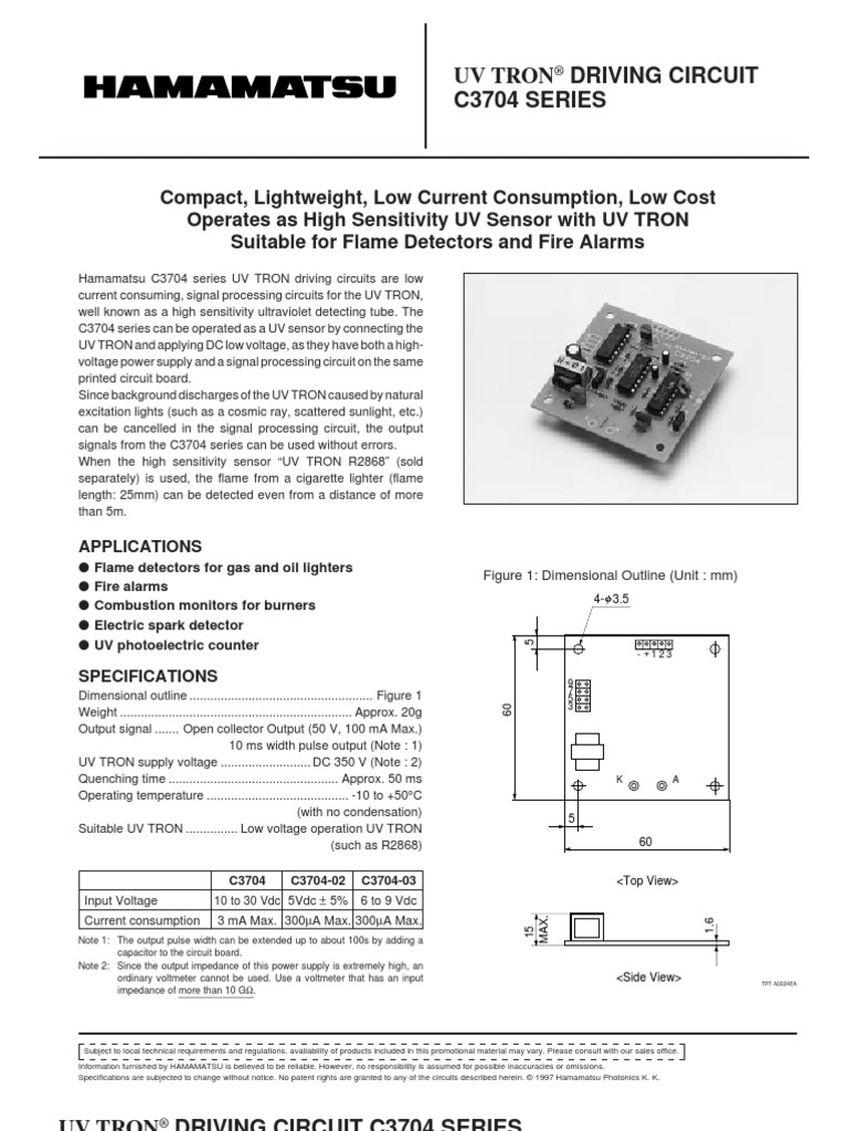 C3704 Ultraviolet Capacitor Flame Detector Photocell Wiring Diagram