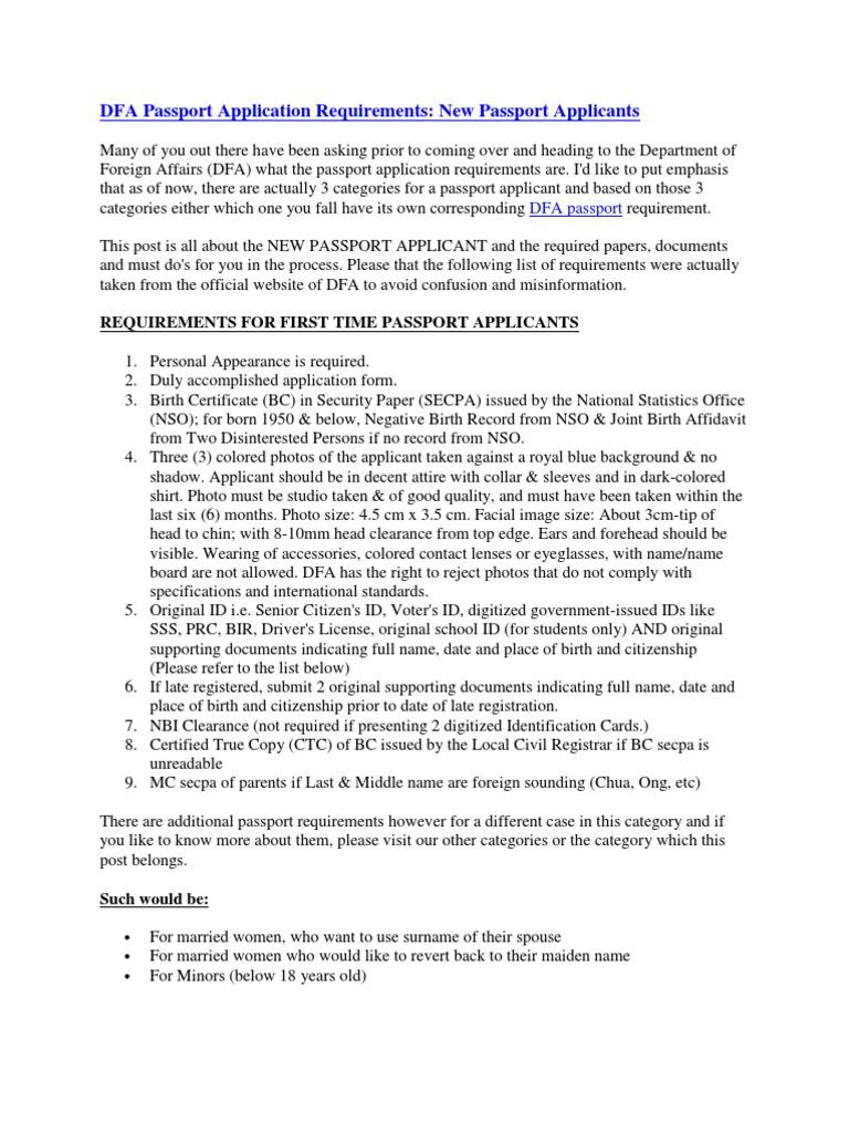 Dfa passport application requirements identity document passport falaconquin