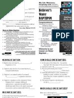 Believers Water Baptism Short Size 2012 Participants Jr Notes Bond 4 Pages Format